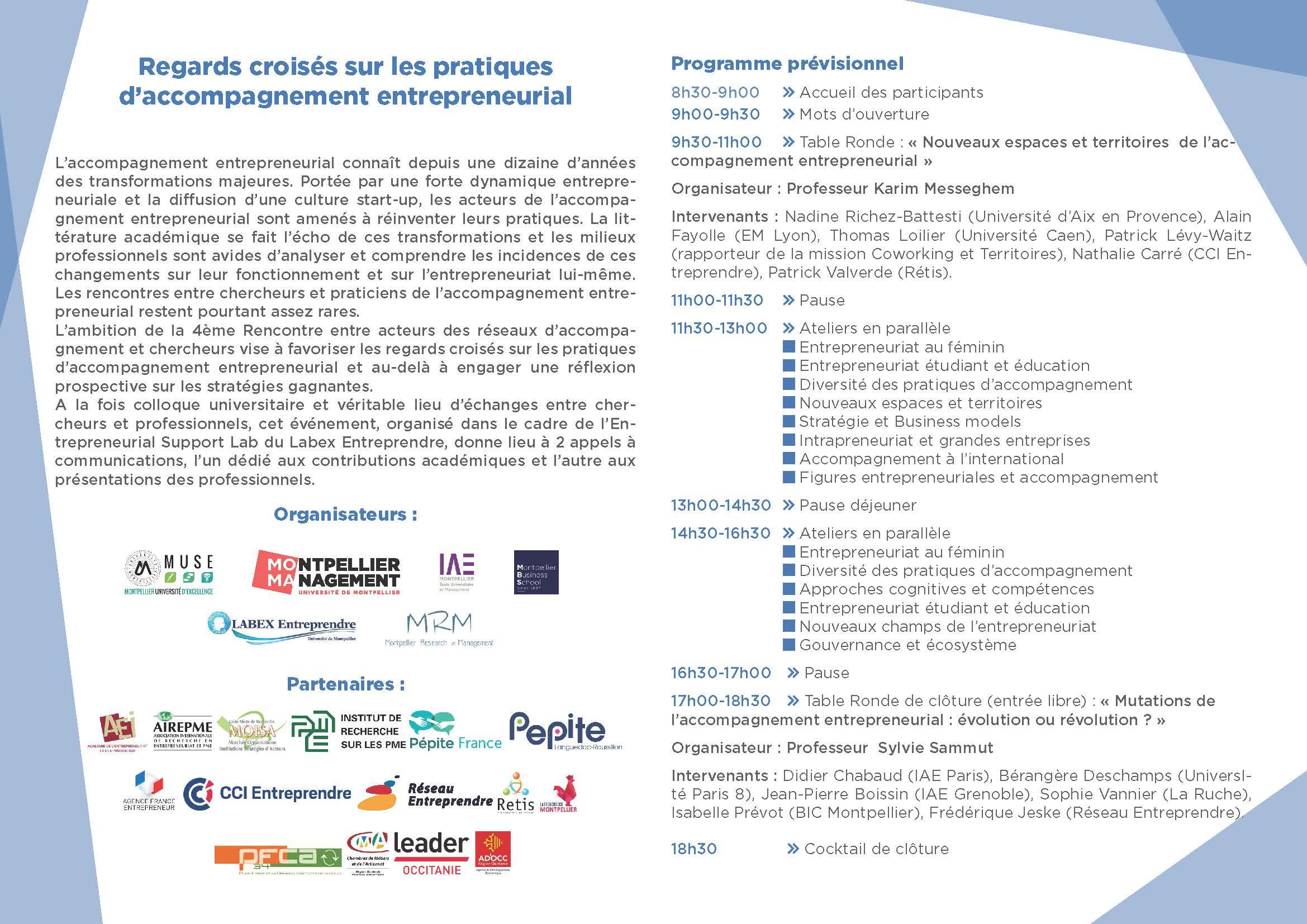 Entrepreneuriat-rencontre-2018_Montpellier-Management_Pré programme 1