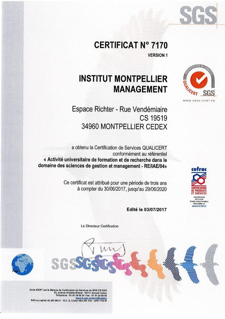 Certificat Qualicert 2019