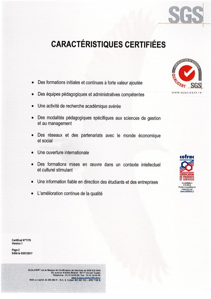 Certification Qualicert 2019