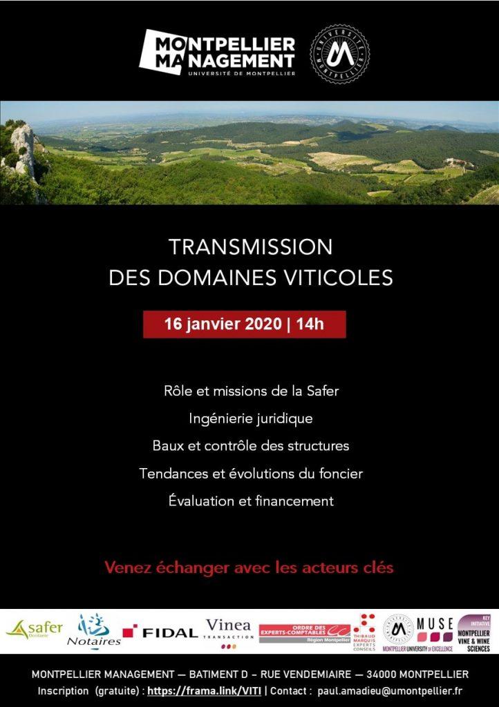 Rencontre Transmission des domaines viticoles - Montpellier Management