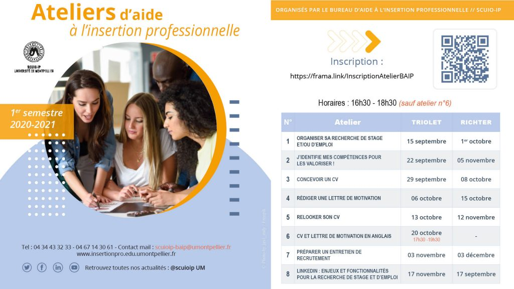 Ateliers d'aide à l'insertion professionnelle - Montpellier Management