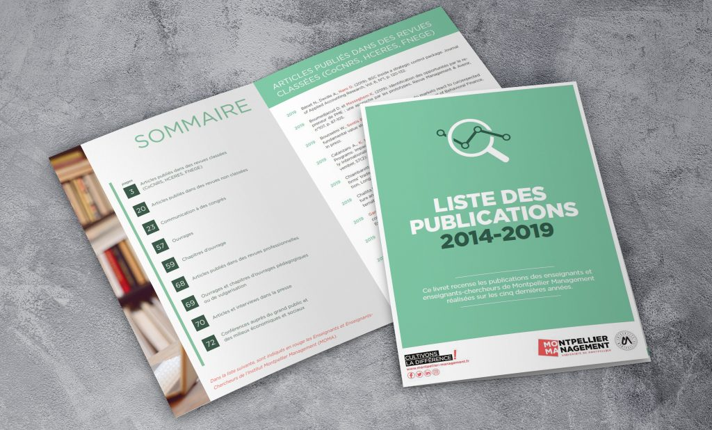 Livret publications recherche 2014/2019 - Montpellier Management